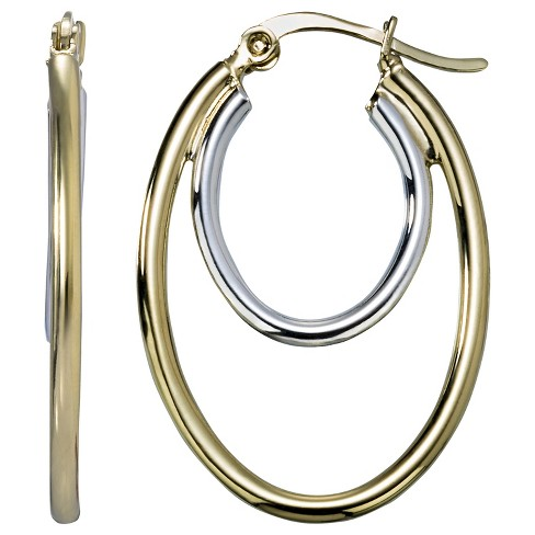 2 Tone Oval Double Hoop Earring - Gold Fusion - image 1 of 1