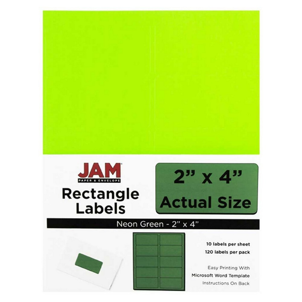"""Image of """"JAM Paper Mailing Labels 2"""""""" X 4"""""""" 120ct - Neon Green"""""""