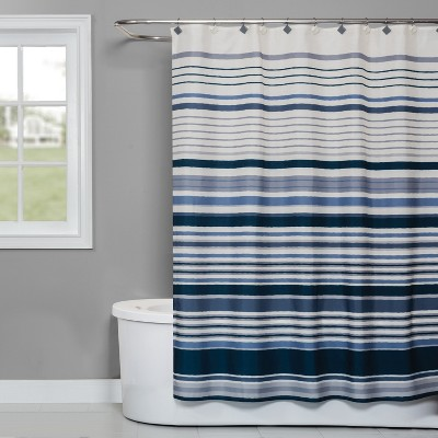 Cubes Stripe Shower Curtain Blue - Saturday Knight Ltd.