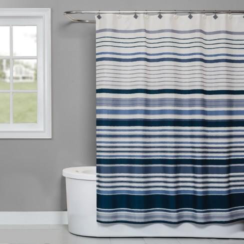 Cubes Stripe Shower Curtain Blue