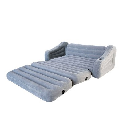 Bon Intex 68566VM Inflatable 2 In 1 Pull Out Sofa Couch And Air Mattress Futon,  Gray
