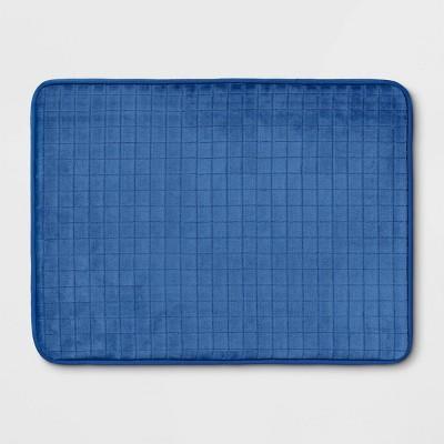"""17""""x23"""" Grid Foam Bath Rug Blue - Room Essentials™"""