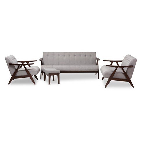 "Enya Mid - Century Modern Fabric 4 - Piece Living Room Set with Wood Finish - Gray, ""Walnut"" Brown - Baxton Studio - image 1 of 3"