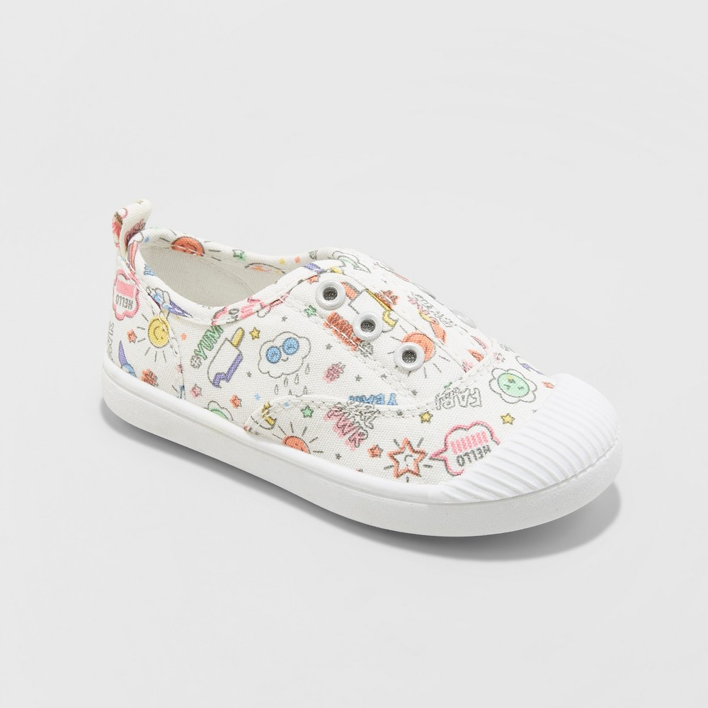Toddler Girls' Alivia Canvas Slip On Sneakers - Cat & Jack Ivory 7