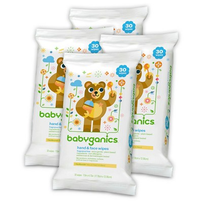 Babyganics Hand and Face Wipes - 30ct. (4pk)