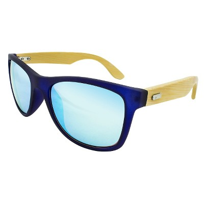 ef12d988005b Men s Surf Shade Sunglasses with Real Wood Temples and Blue Mirror Lenses -  Blue