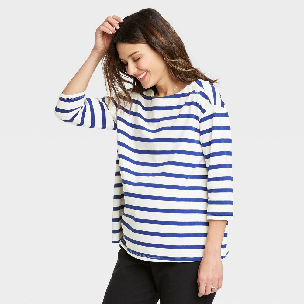 The Nines By Hatch 8482 Maternity Striped 3 4 Sleeve Boat Neck Drop Shoulder Top Blue L