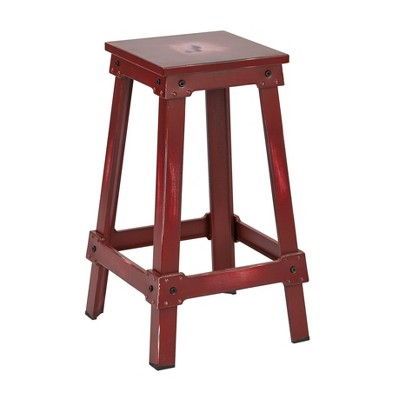 "26"" New Castle Metal Counter Height Barstool Red - OSP Home Furnishings"