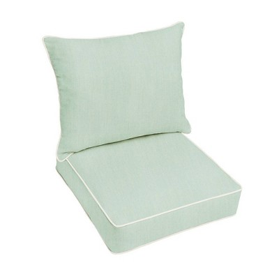 Sunbrella Outdoor Seat Cushion Spa Green/Ivory