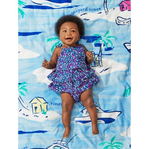 ef6bffd75 Baby Ruffle School Of Whales Sleeveless Bodysuit - Blue - Vineyard Vines®  For Target : Target