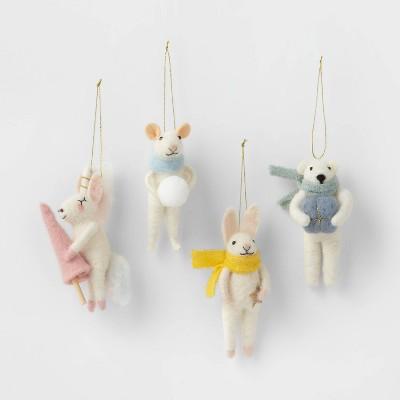 4ct Boiled Wool Animals Christmas Ornament Set Pastel - Wondershop™