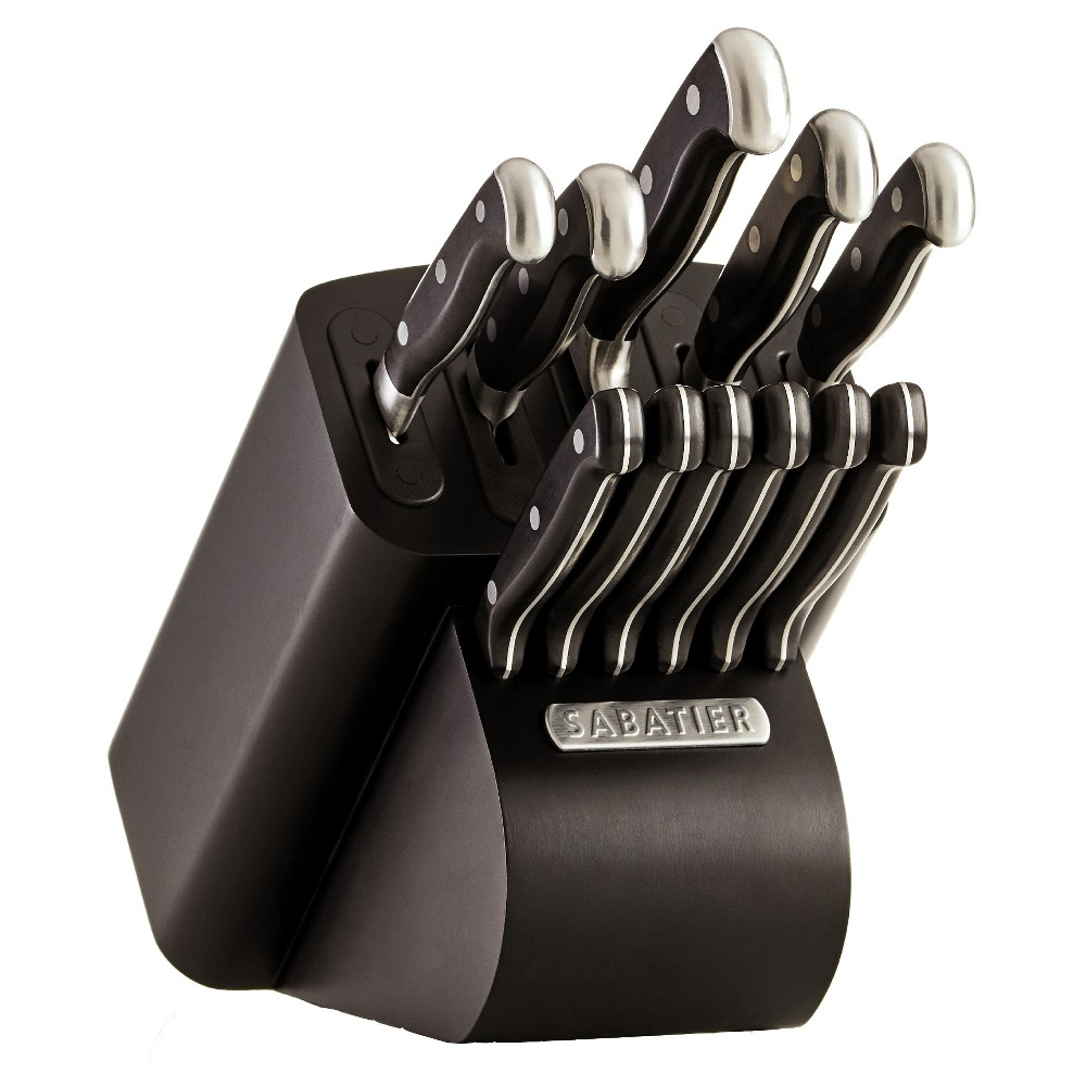 Image of Sabatier 12pc Self Sharpening Edgekeeper Pro Block, Silver Black