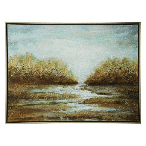 """36"""" Landscape Hand Painted Stretched Canvas Decorative Wall Art - StyleCraft - image 1 of 1"""