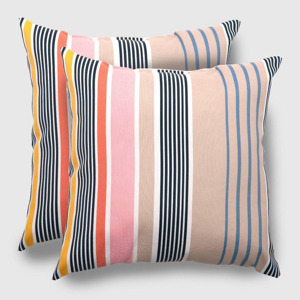 2pk Square Multi-Stripe Outdoor Pillow Picnic - Threshold, Blue