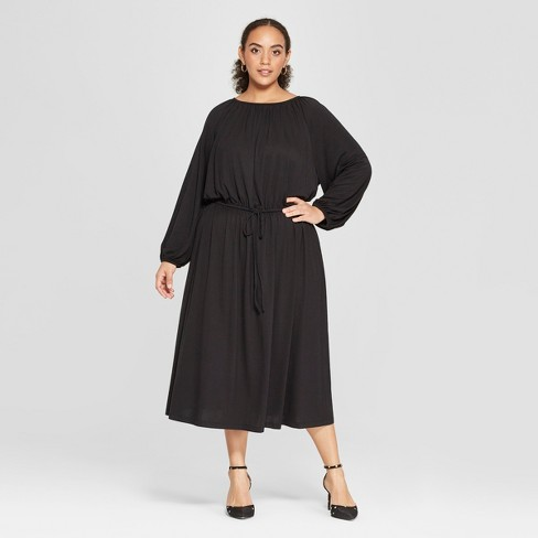 Women's Plus Size Long Sleeve Maxi Knit Dress - Who What Wear™ Black - image 1 of 3
