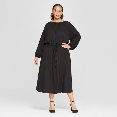 Women\'s Plus Size Long Sleeve Maxi Knit Dress - Who What Wear™ Black ...