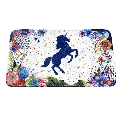 Lakeside Unicorn Memory Foam Bath Rug Rug with Floral Design for Girls Bathrooms