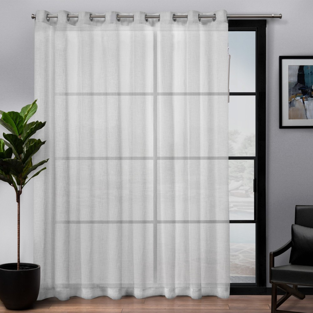 """Image of """"108""""""""x84"""""""" Belgian Patio Sheer Grommet Top Single Curtain Panel White - Exclusive Home"""""""
