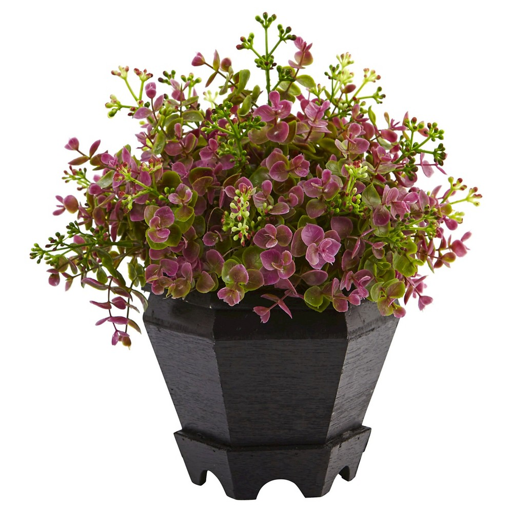 Image of 13 Sedum and Eucalyptus Plant with Planter - Nearly Natural, Purple