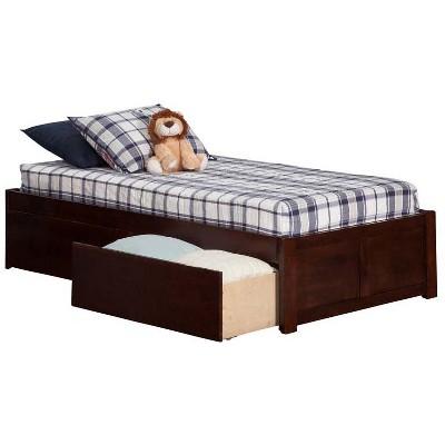 Concord Twin XL Flat Panel Footboard w/ 2 Urban Bed Drawers Antique Walnut - Atlantic Furniture