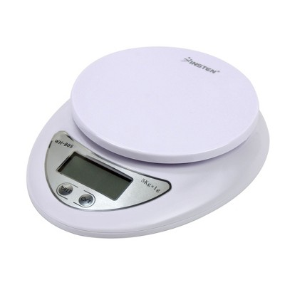 Insten Food Weight Scale Digital Kitchen Scale in Grams Ounces 10lb x 0.04oz / 5Kg x 1g, White