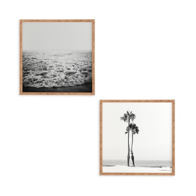 """(Set of 2)12"""" x 12"""" Two Palms Framed Decorative Wall Art White - Deny Designs"""