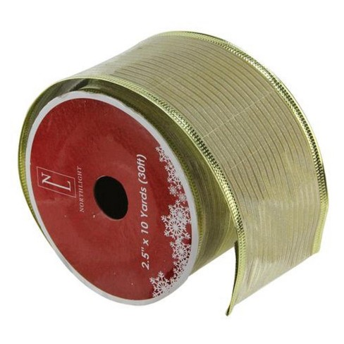 """Northlight Shimmery Gold Horizontal Wired Christmas Craft Ribbon 2.5"""" x 10 Yards - image 1 of 3"""