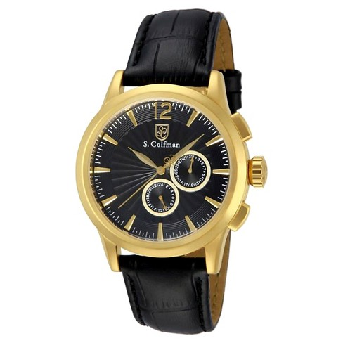 Men's Invicta SC0263 Quartz Chronograph Black and Gold Dial Link Watch - Black - image 1 of 1