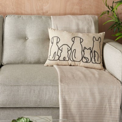 "14""x20"" Dog Silhouettes Throw Pillow Natural - Kathy Ireland Home"