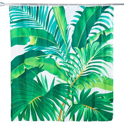 Tropical Shower Curtain Set with 12 Hooks, Leaf Bathroom Decor (70 x 71 In)