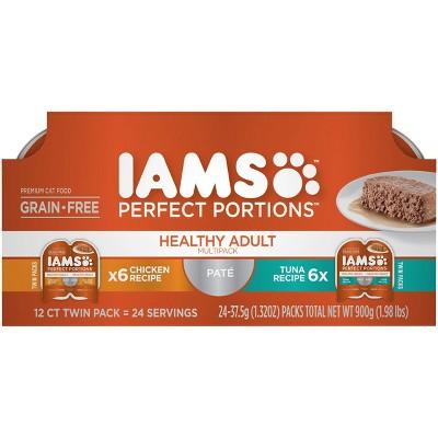 Iams Perfect Portions Grain Free Paté Chicken & Tuna Recipes Premium Wet Cat Food - 2.6oz/12ct Variety Pack