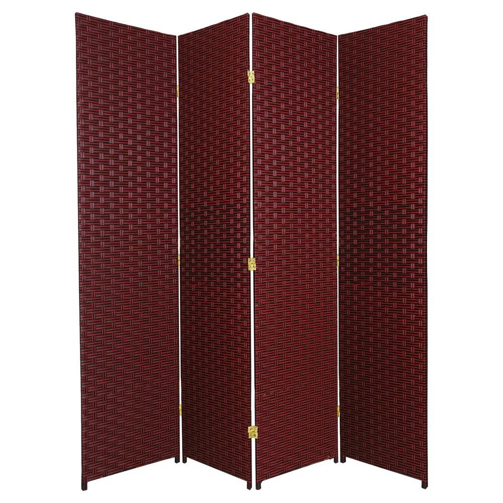 Oriental 6 ft. Tall Woven Fiber Room Divider - Red/Black ...