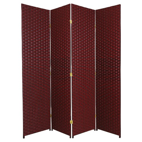 6 ft. Tall Woven Fiber Room Divider - Red/Black (4 Panels) - image 1 of 1