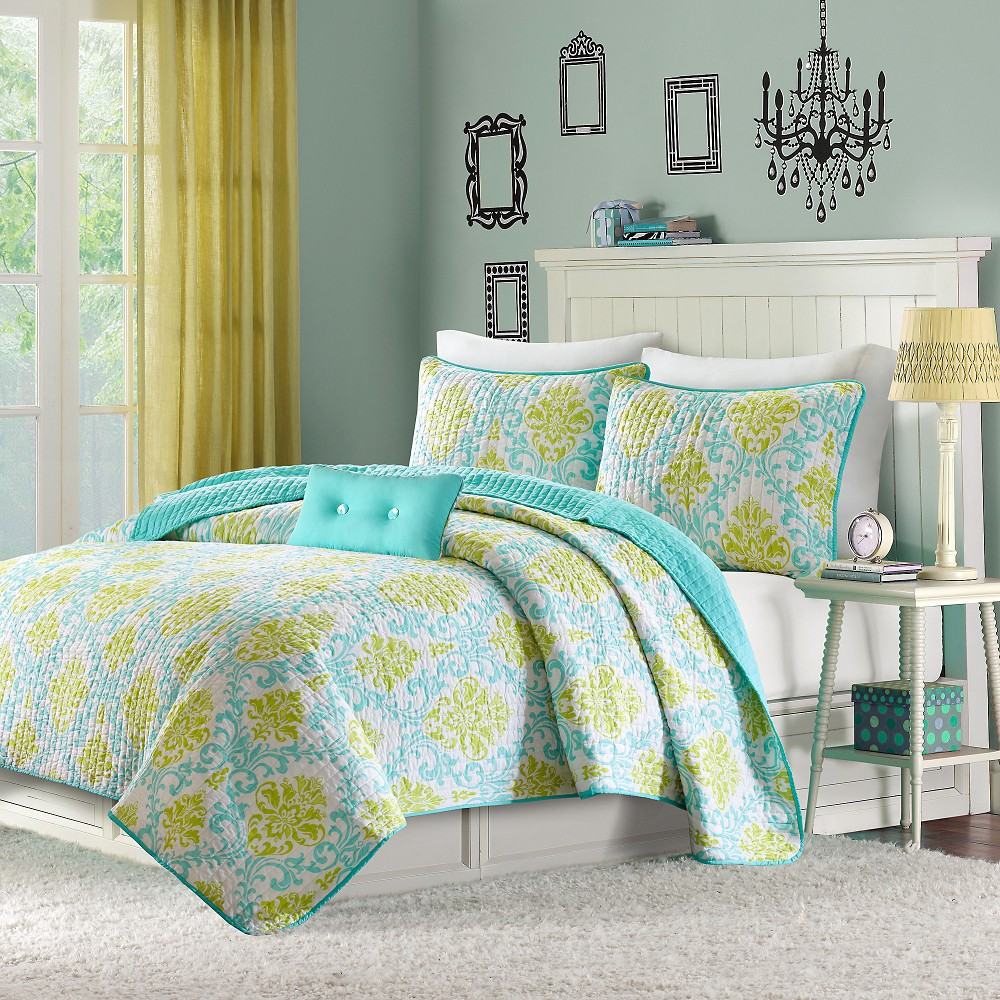 Bella 4 Piece Coverlet Set - Teal (Full/Queen), Blue