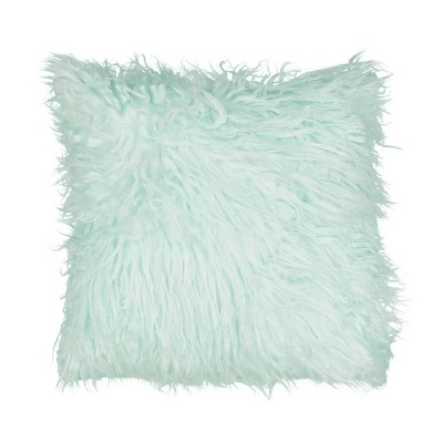 "14""x14"" La La Llama Faux Fur Throw Pillow Green - Waverly Kids"
