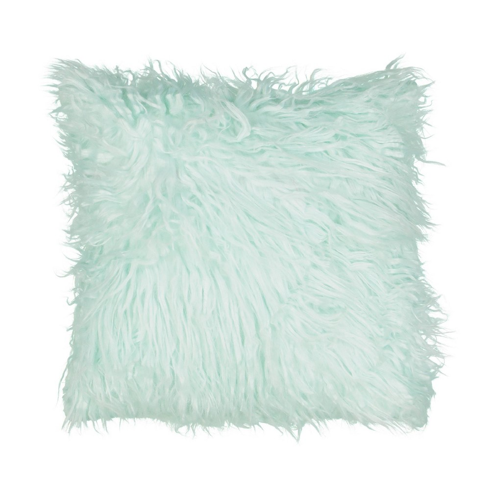 "Image of ""14""""x14"""" La La Llama Faux Fur Throw Pillow Green - Waverly Kids"""