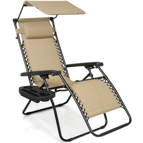 best choice products folding zero gravity recliner patio lounge chair w canopy shade headrest side tray beige
