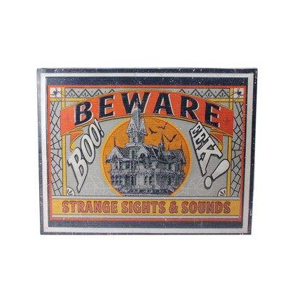 "Raz Imports 18"" Halloween Stamped ""BEWARE"" Metal Wall Art - Orange/Gray"