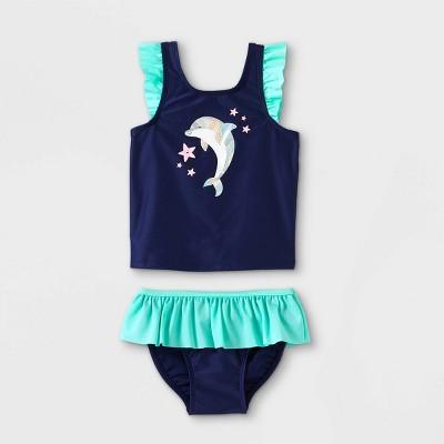 Toddler Girls' Dolphin Print Tankini Set - Cat & Jack™ Navy 12M