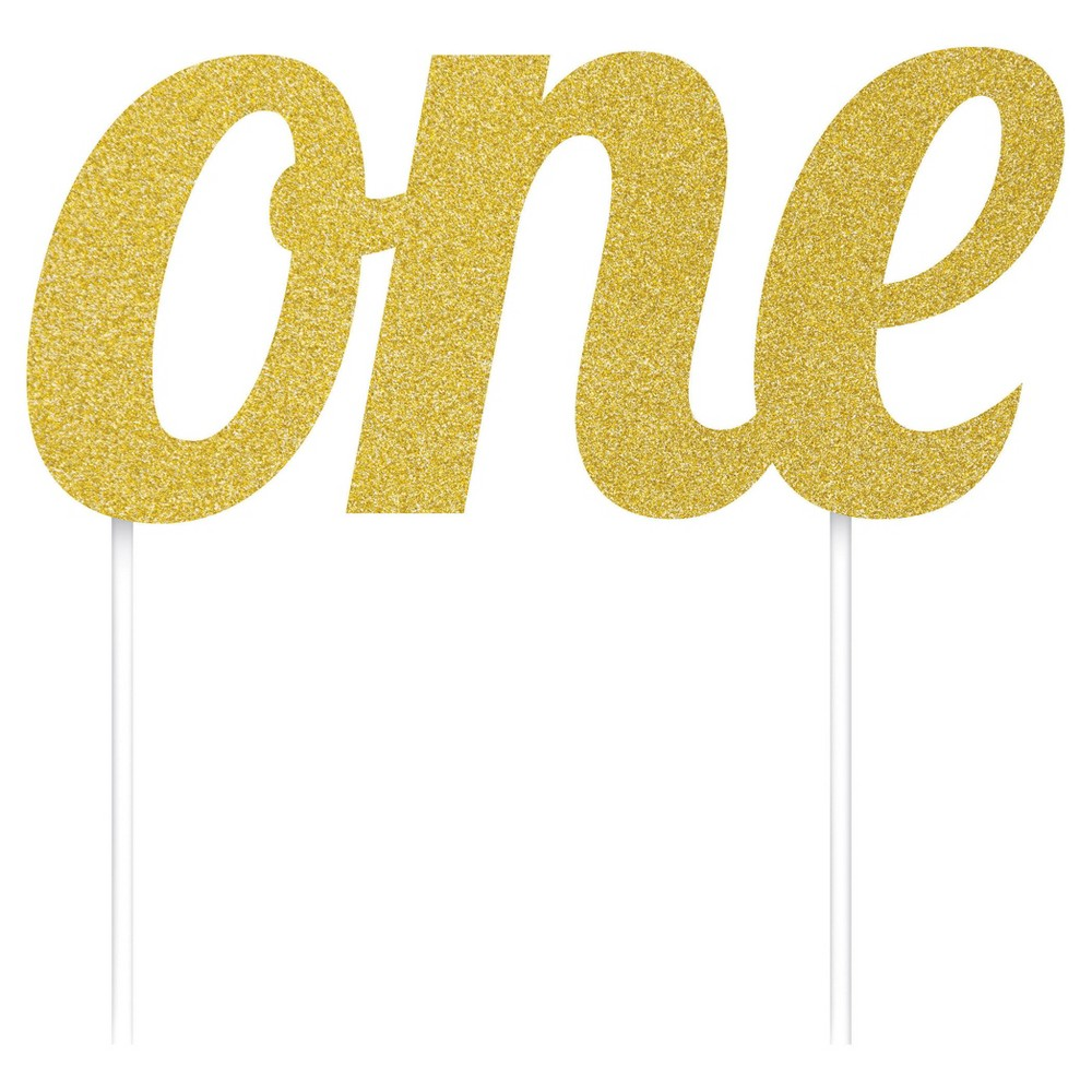 """Image of """"Gold """"""""One"""""""" Birthday Cake Topper"""""""