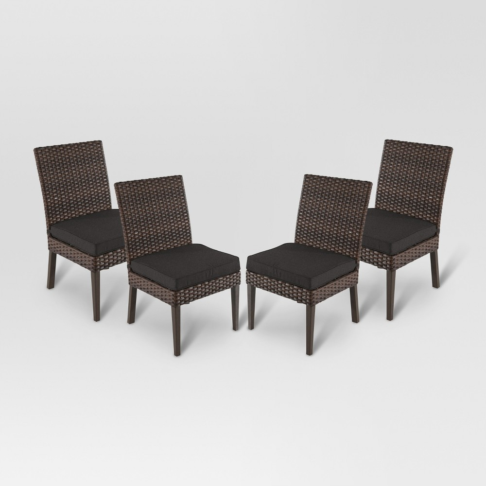 Halsted 4pk All-Weather Wicker Patio Dining Chair - Charcoal - Threshold was $449.99 now $224.99 (50.0% off)