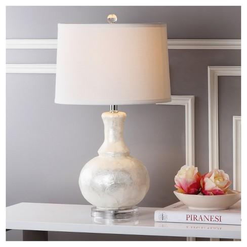 Shelley White Capiz Shell Gourd Table Lamp Set Of 2 White