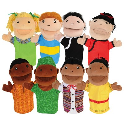 Kaplan Early Learning Diversity Hand Puppets with Movable Arms and Mouths - Set of 8