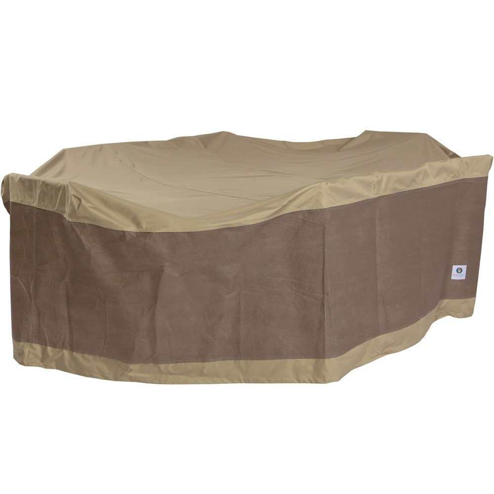 "Image of ""109""""L Elegant Rectangular/Oval Patio Table & Chair Set Cover Coffee - Classic Accessories, Brown"""