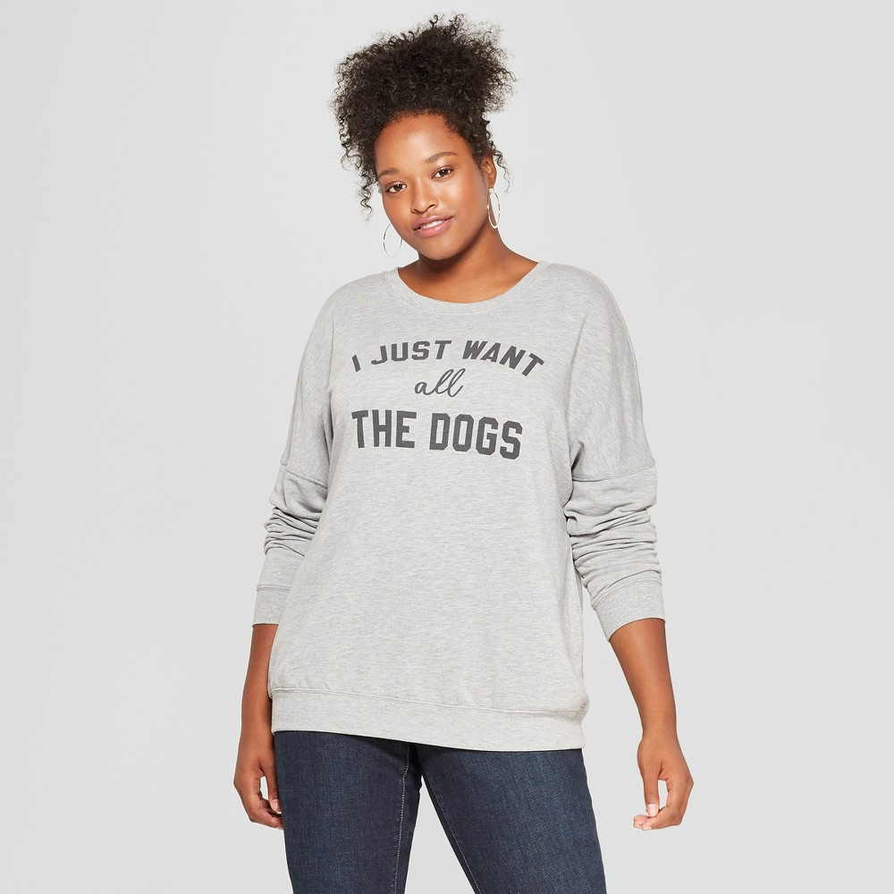 Women's Plus Size I Just Want All the Dogs Graphic Pullover Sweatshirt - Zoe+Liv (Juniors') Gray 1X