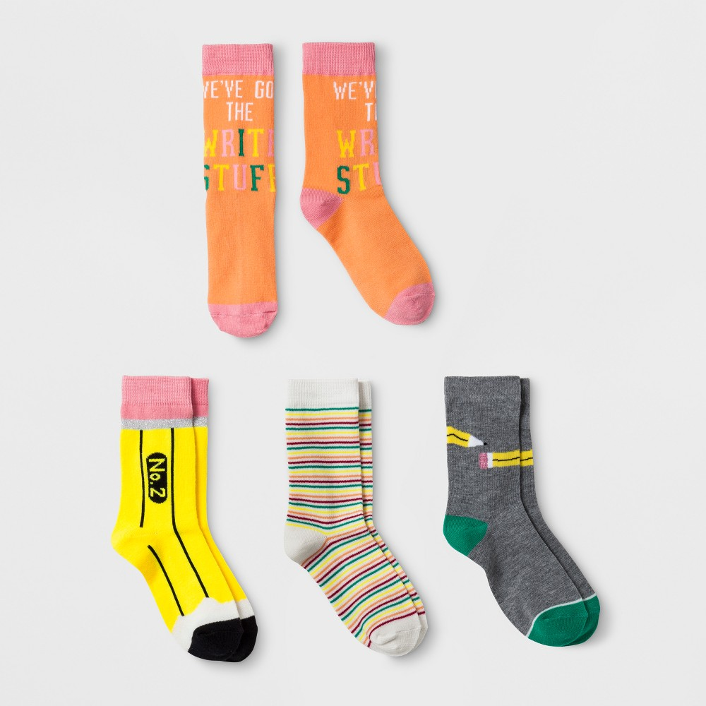 Girls' 4pk Pencil Print Crew Socks - Cat & Jack L, Multicolored