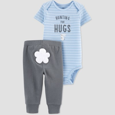 Baby Boys' Easter 'Hunting For Hugs' Top and Bottom Set - Just One You® made by carter's Blue/Gray 3M