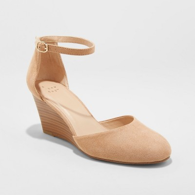 Women's Wendi D'Orsay Closed Toe Wedge Espadrille - A New Day™ Taupe 8.5
