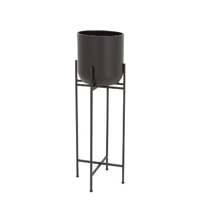 """12"""" x 46"""" Planter with Stand Black - Olivia & May"""