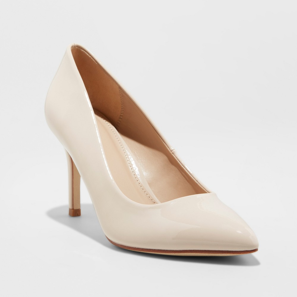 Women's Gemma Satin Patent Wide Width Pointed Toe Pump Heel - A New Day Taupe (Brown) 9.5W, Size: 9.5 Wide